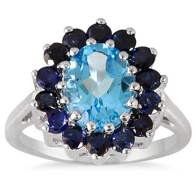 3.00 Carat TW Blue Topaz and Sapphire Ring in .925 Sterling Silver