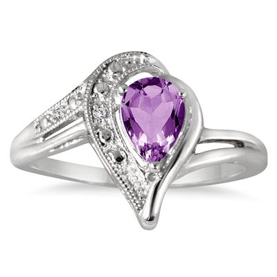 3/4 Carat Amethyst and Diamond Ring in .925 Sterling Silver