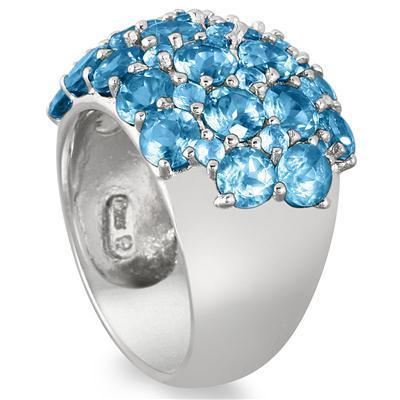 7 Carat Blue Topaz Estate Ring in .925 Sterling Silver