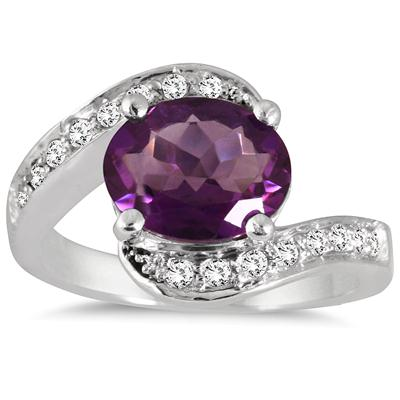 2.30 Carat Oval Amethyst and White Topaz Ring in .925 Sterling Silver