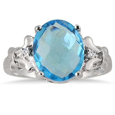 Created Oval Shape Blue Topaz and Diamond Ring .925 Sterling Silver