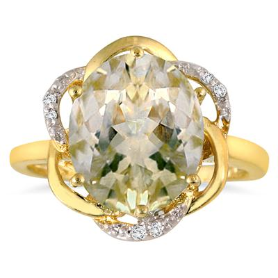 3.25 Carat Oval Green Amethyst and Diamond Ring in 18K Gold Plated Sterling Silver