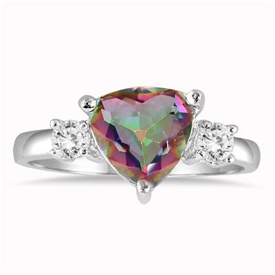 2.25 Carat Mystic Rainbow and White Topaz Trillion Ring in .925 Sterling Silver