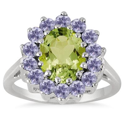 3.00 Carat TW Peridot and Tanzanite Ring in .925 Sterling Silver