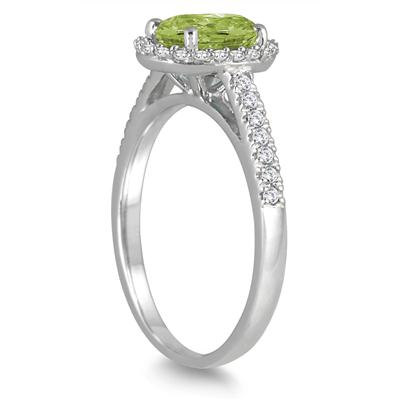 Peridot and Diamond Halo Ring in 10K White Gold