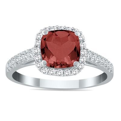 Garnet and Diamond Ring in 10K White Gold