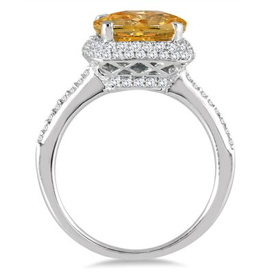 3 1/2 Carat Cushion Cut Citrine and Diamond Halo Ring in 10K White Gold