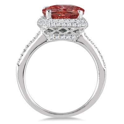 3 1/2 Carat Cushion Cut Garnet and Diamond Halo Ring in 10K White Gold
