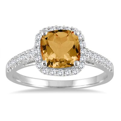 5MM Cushion Cut Citrine and Diamond Halo Ring in 10K White Gold