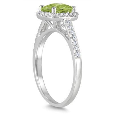 5MM Cushion Cut Peridot and Diamond Halo Ring in 10K White Gold