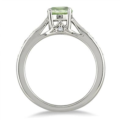 1 Carat Green Amethyst & Diamond Ring in .925 Sterling Silver
