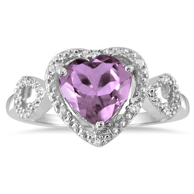2 Carat Amethyst and Diamond Double Heart Ring in .925 Sterling Silver