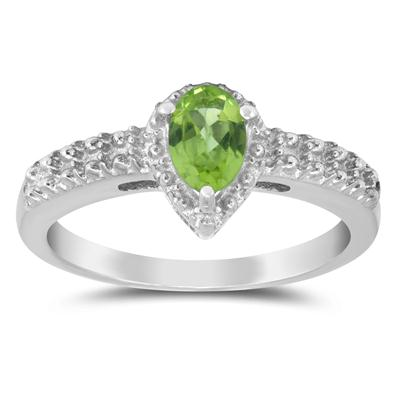 6x4mm Pear Shape Peridot Ring in .925 Sterling Silver