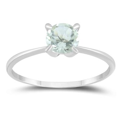 5mm Round All Natural Green Amethyst Solitaire Ring in .925 Sterling Silver