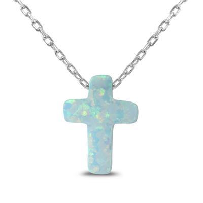 Lab Opal Cross Pendant in .925 Sterling Silver