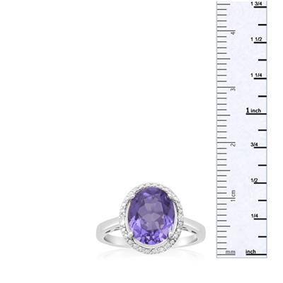 3 Carat Oval Shape Created Tanzanite and Diamond Halo Ring In .925 Sterling Silver
