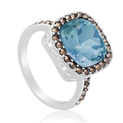 4ct Cushion Cut Crystal Aqua and Marcasite Ring