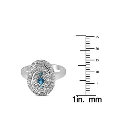 Blue and White Topaz Catherine Ring in .925 Sterling Silver