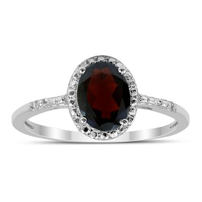 Oval Garnet Halo Ring in .925 Sterling Silver