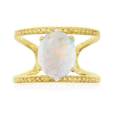 3 Carat Genuine Opal and Diamond Open Shank Ring