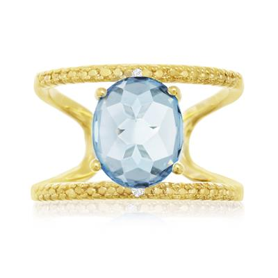 3 Carat Blue Topaz and Diamond Open Shank Ring in 14 Karat Yellow Gold Over Sterling Silver