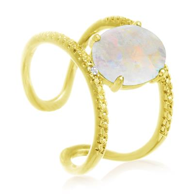 3 Carat Genuine Opal and Diamond Open Shank Ring In 14 Karat Yellow Gold Over Sterling Silver
