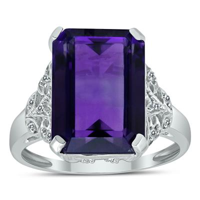 Amethyst and Diamond Royal Splendor Cocktail Ring in .925 Sterling Silver