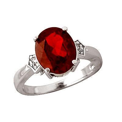 Garnet and Diamond Ring in 10kt White Gold