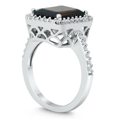 Garnet and Diamond Halo Cocktail Ring in 14K White Gold