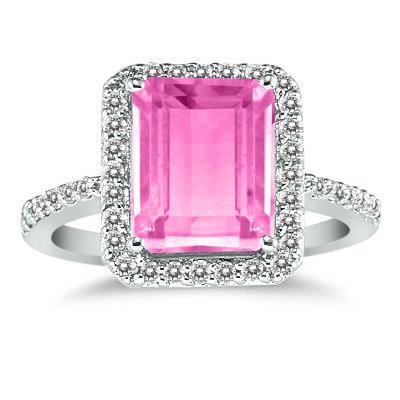 4 1/2 Carat Emerald Cut Pink Topaz and Diamond Ring 14K White Gold
