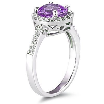 2 1/2 Carat Amethyst and Diamond Ring 14K White Gold