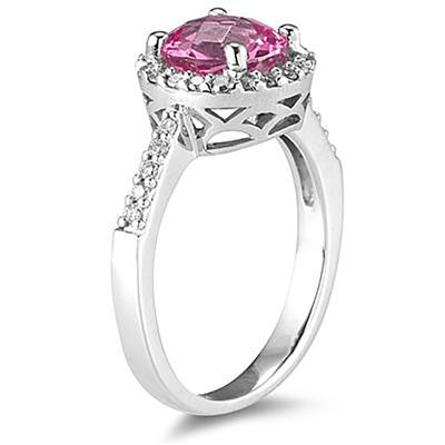 2 1/2 Carat Pink Topaz and Diamond Ring 14K White Gold
