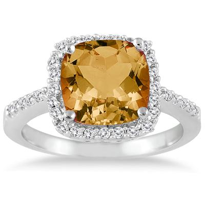2 1/2 Carat Cushion Cut Citrine and Diamond Ring 14K White Gold