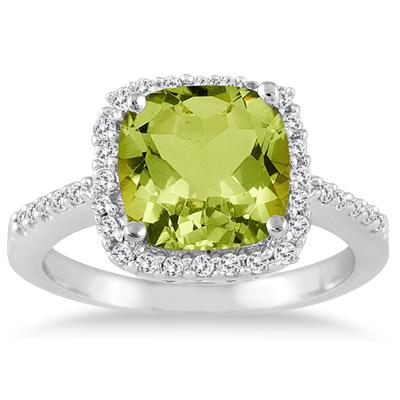 2 1/2 Carat Cushion Cut Peridot and Diamond Ring 14K White Gold