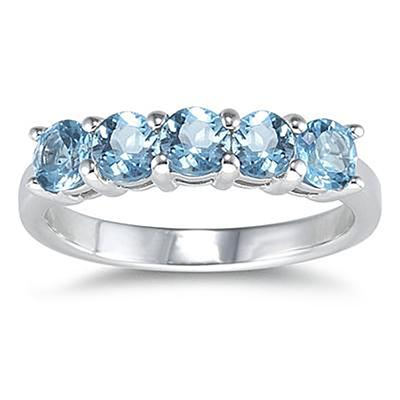 5 Stone Blue Topaz Ring 14K White Gold