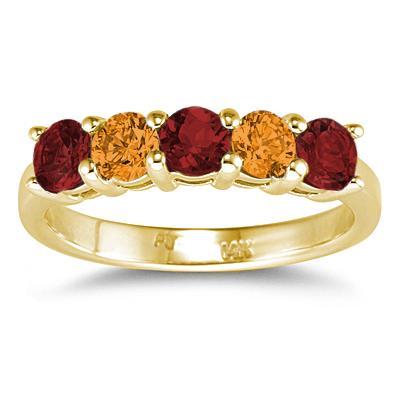 Three Stone Garnet & Two Stone Citrine 14K Yellow Gold Ring