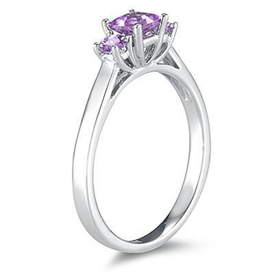 3 Stone Amethyst Ring 14K White Gold