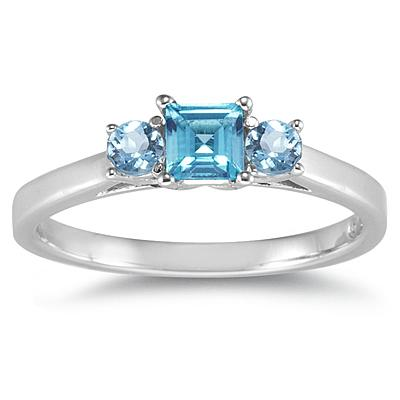 3 Stone Blue Topaz Ring 14K White Gold
