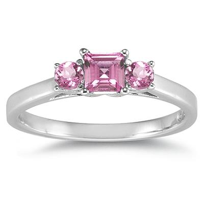 3 Stone Pink Topaz Ring 14K White Gold