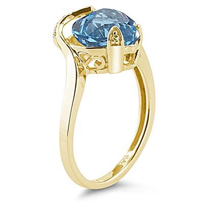 Heart Shaped Blue Topaz and Diamond Curve Ring in 14K Yellow Gold