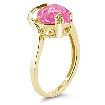 Heart Shaped Pink Topaz and Diamond Curve Ring in 14K Yellow Gold