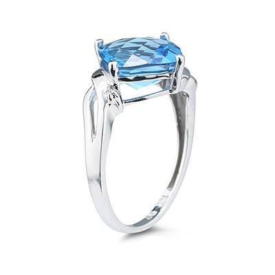 4 1/2 Carat Cushion Cut Blue Topaz & Diamond Ring in 14K White Gold