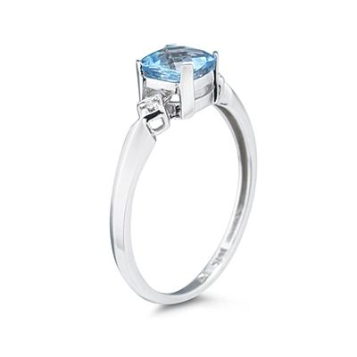 Cushion Cut Blue Topaz & Diamond Ring in 10k White Gold