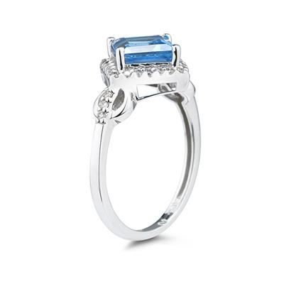 Blue Topaz and Diamond Ring in 14K White Gold