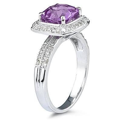 2 1/2 Carat Cushion Cut Amethyst & Diamond Ring in 14K White Gold