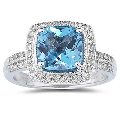 2 1/2 Carat Cushion Cut Blue Topaz & Diamond Ring in 14K White Gold