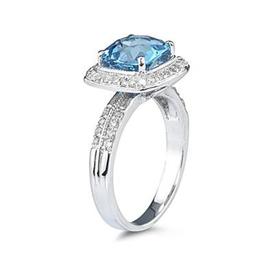 2 1/2 Carat Cushion Cut Blue Topaz & Diamond Ring in 14K White Gold