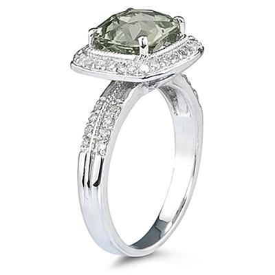 2 1/2 Carat Cushion Cut Green Amethyst & Diamond Ring in 14K White Gold