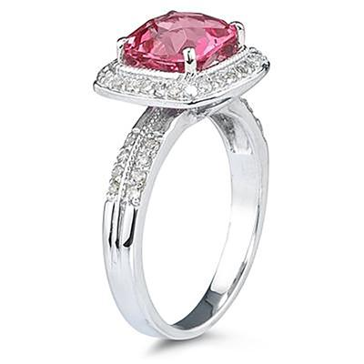 2 1/2 Carat Cushion Cut Pink Topaz & Diamond Ring in 14K White Gold