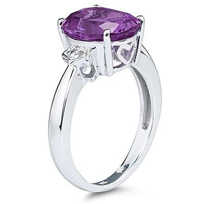 Amethyst & Diamond Ring in 10k White Gold